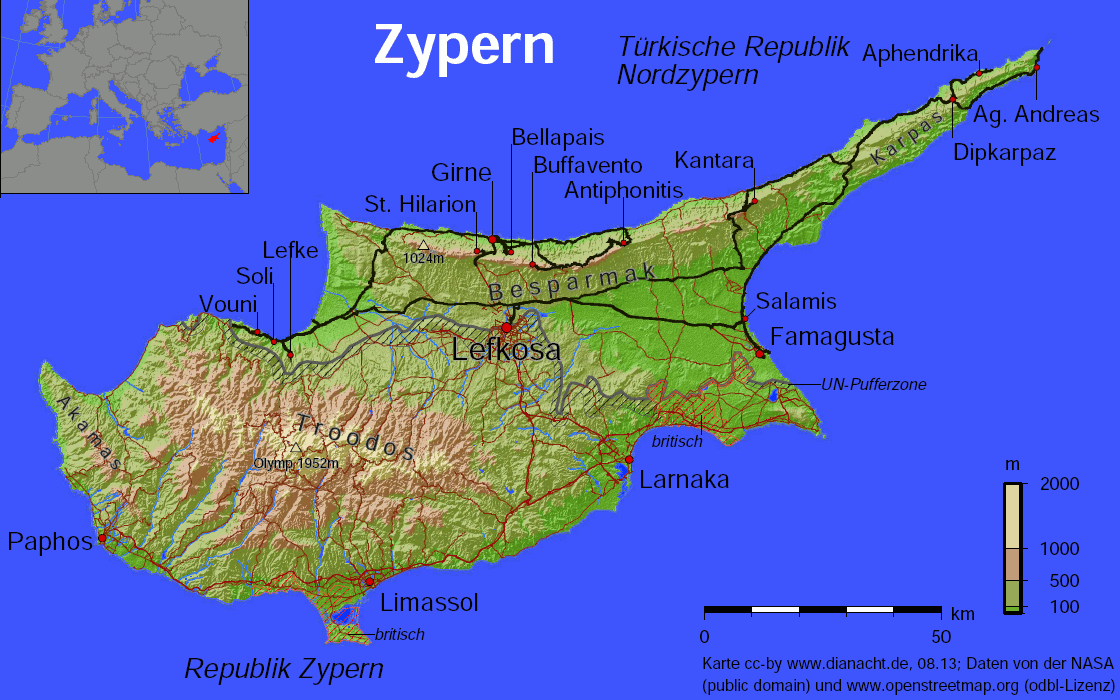 Nordzypern Karte