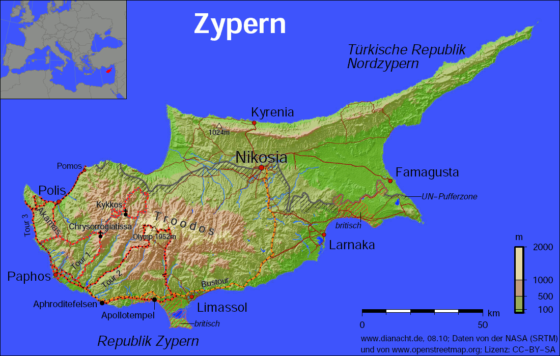 karte zypern Karte von Zypern